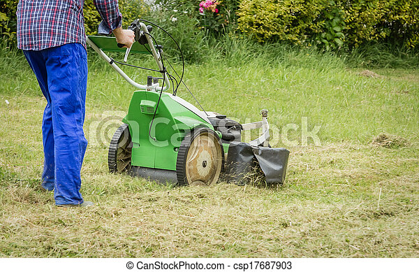 Young man mowing the lawn with a lawnmower - csp17687903