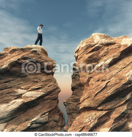 young man on a rock in front of a chasm this is a 3d