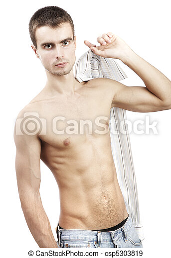 young man on a white background - csp5303819