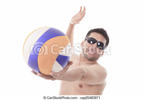 Young man playing volleyball. Studio shot over white. - csp25483971