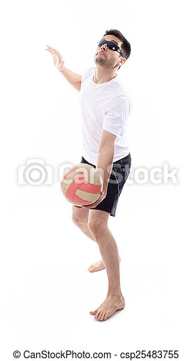 Young man playing volleyball. Studio shot over white. - csp25483755