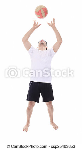 Young man playing volleyball. Studio shot over white. - csp25483853