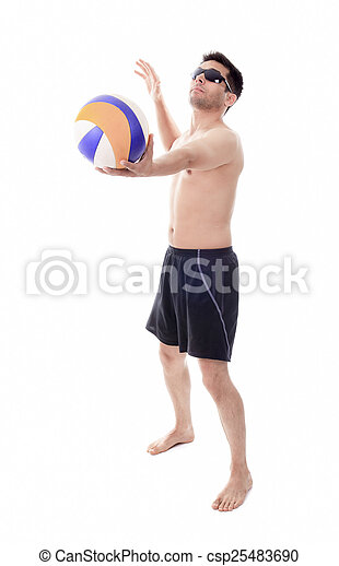Young man playing volleyball. Studio shot over white. - csp25483690