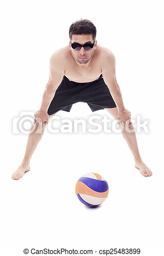 Young man playing volleyball. Studio shot over white. - csp25483899