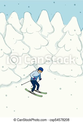 Young man riding on mountain skiing among the snow-covered forest. Winter extreme sport. Vector illustration. - csp54578208