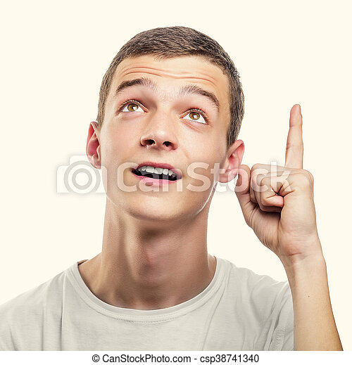 Young man showing upwards index finger. - csp38741340
