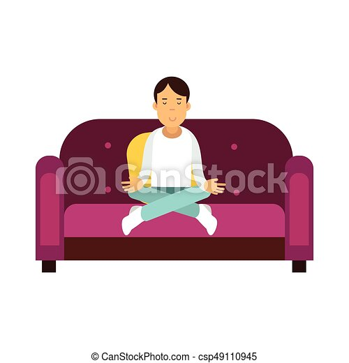 Young man sitting on a sofa and meditating in lotus pose vector Illustration - csp49110945