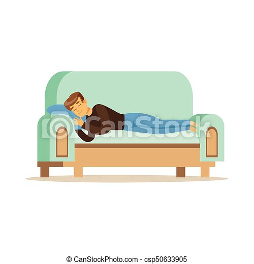 Astonishing Young Man Sleeping On The Sofa Relaxing Person Vector Illustration Unemploymentrelief Wooden Chair Designs For Living Room Unemploymentrelieforg