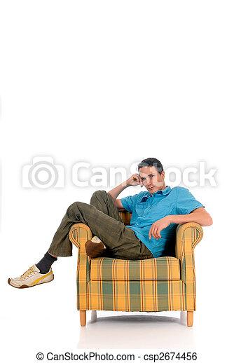 Young man sofa - csp2674456
