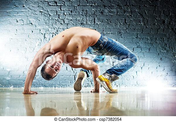 Young man sports exercises - csp7382054