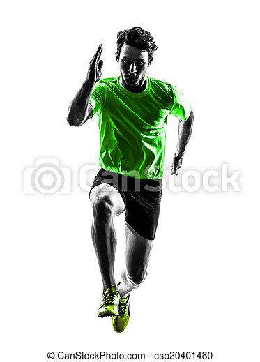 young man sprinter runner running silhouette - csp20401480