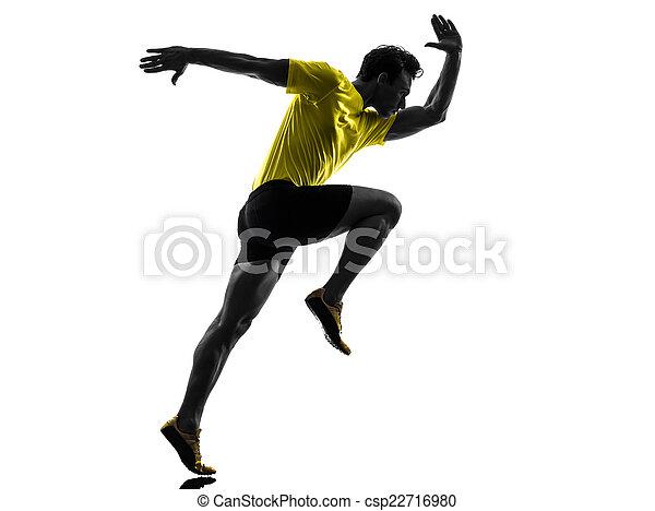 young man sprinter runner running silhouette - csp22716980
