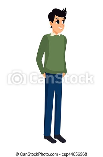 Young Man Standing Stylish Design Vector Illustration Eps 10