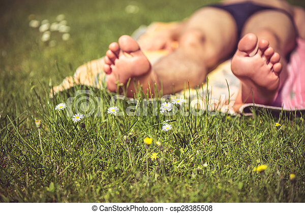 Young man sunbathing - csp28385508