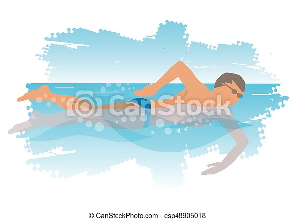 young man swims in the sea swimmer swimming freestyle on waves rh canstockphoto com Surfing Wave Clip Art Shark Outline Clip Art
