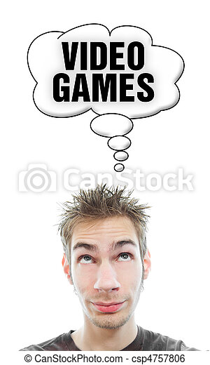 Young man thinks about Video Games - csp4757806