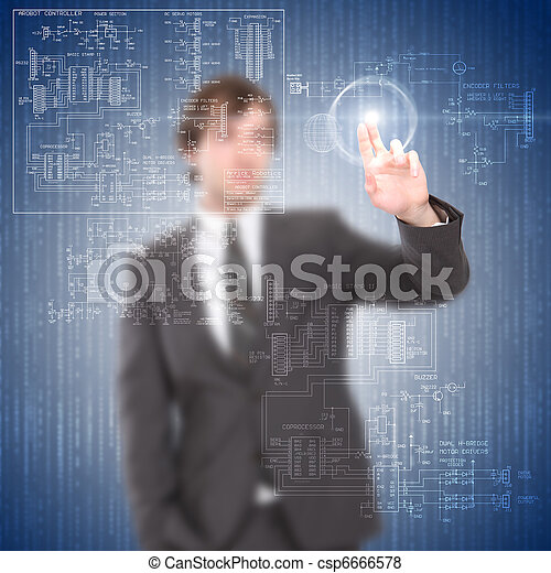young man touches a virtual surface - csp6666578