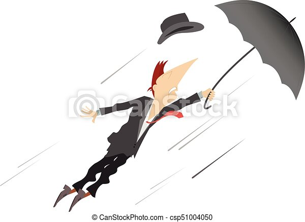 Line Art Umbrella : Young man umbrella and windy day isolated. being