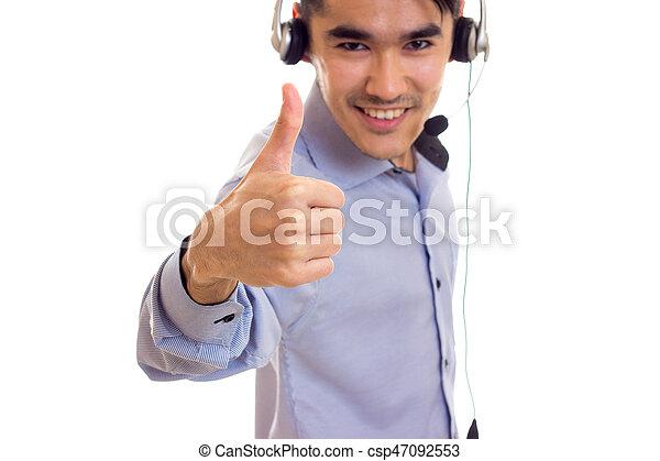 Young Man Using Headphones