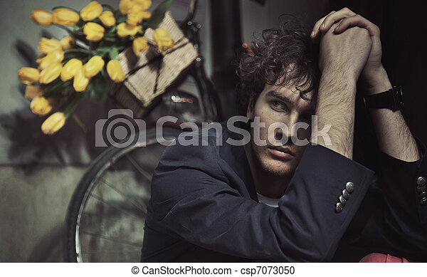 Young man waiting for a date - csp7073050