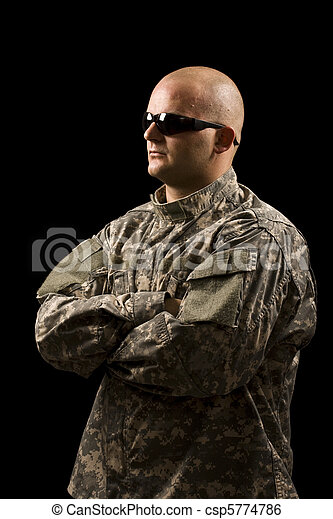 young man wearing military - csp5774786
