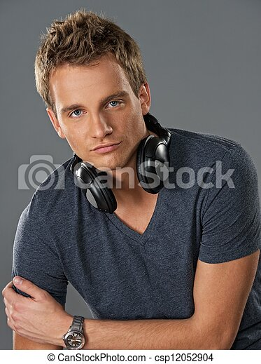 Young man with a headphones - csp12052904