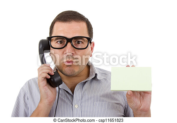 young man with a phone, on white background - csp11651823