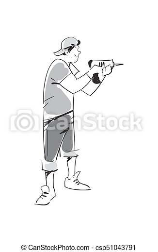 Young man with electric drill vector icon - csp51043791