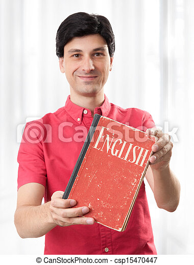 young man with English Dictionary Book - csp15470447