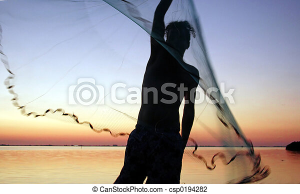 young man with net - csp0194282