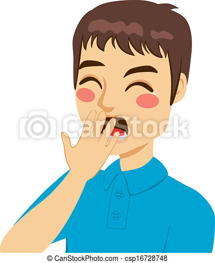 young man yawning covering mouth by hand with eyes closed eps vector rh canstockphoto com yawning clipart gif yawn clipart