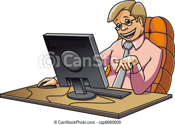young manager in office working on computer eps vectors search rh canstockphoto com manage clipboard manager clipart black and white