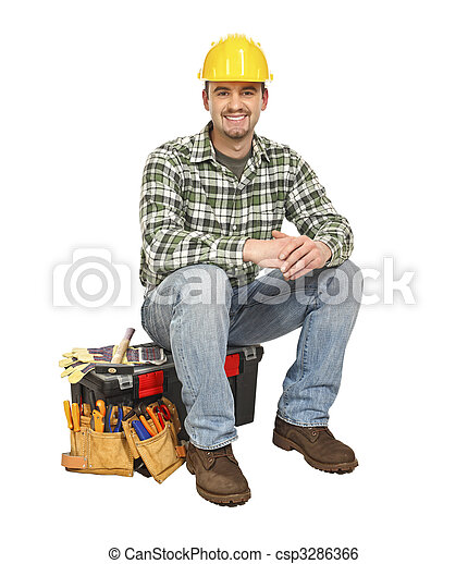 young manual worker and toolbox - csp3286366