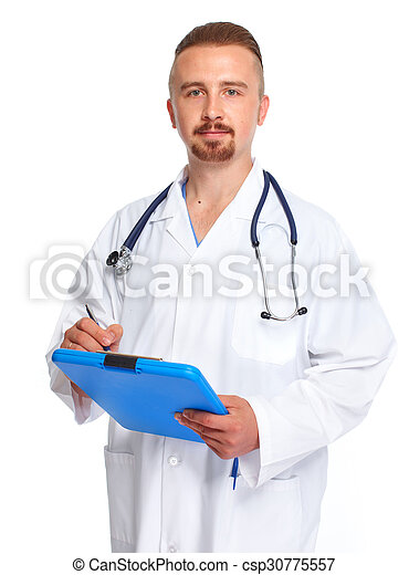 Young medical doctor with clipboard. - csp30775557