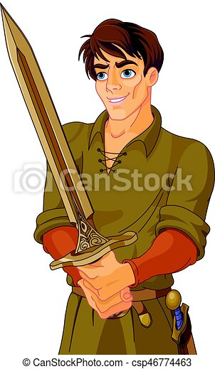 Young Medieval Man Holding a Sword - csp46774463