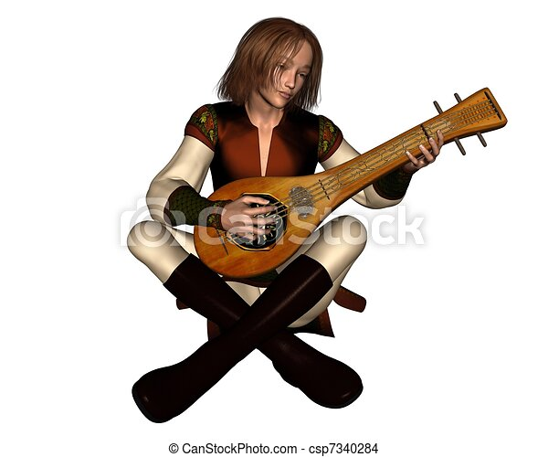 Young Medieval Minstrel with Lute - csp7340284