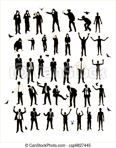 Young men silhouettes. A resident of the street, naked, businessman, supporter, graffiti. - csp9827445
