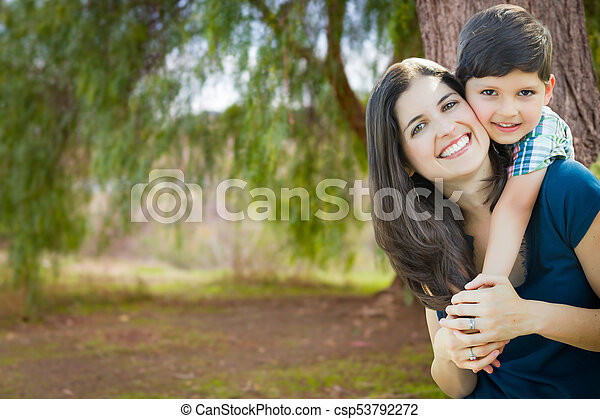 Young Mother and Son Portrait Outdoors. - csp53792272
