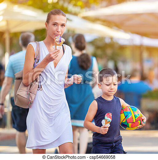 Young Mother Son Ice Cream - csp54669058