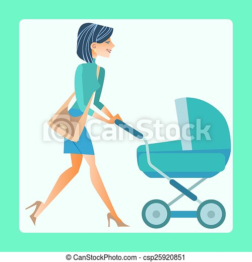 young mother with a baby carriage - csp25920851