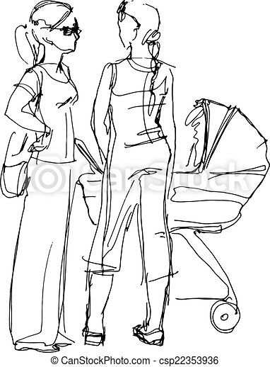 young mother with a pram and a girlfriend  - csp22353936