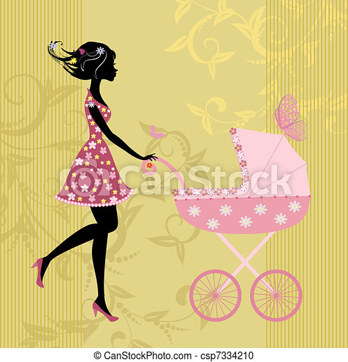 young mother with a stroller - csp7334210