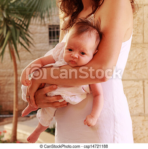 young mother with her newborn baby - csp14721188