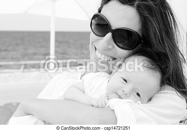 young mother with her newborn baby - csp14721251