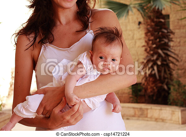 young mother with her newborn baby - csp14721224