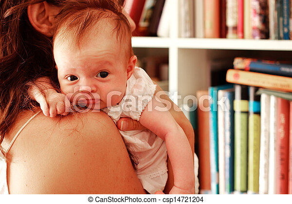 young mother with her newborn baby - csp14721204
