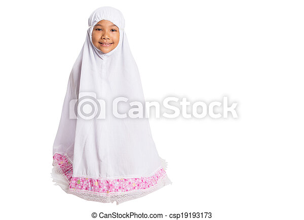 Young Muslim Girl In White Hijab - csp19193173