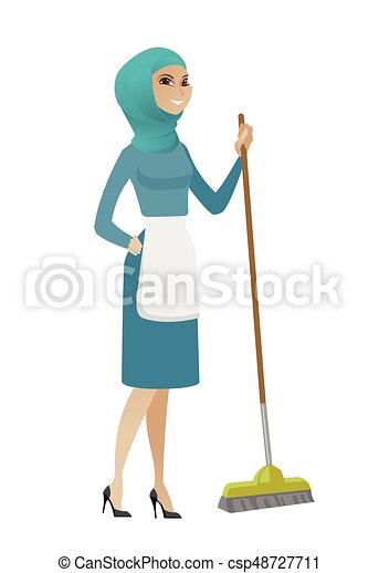 Young Muslim Housemaid Sweeping Floor With A Broom