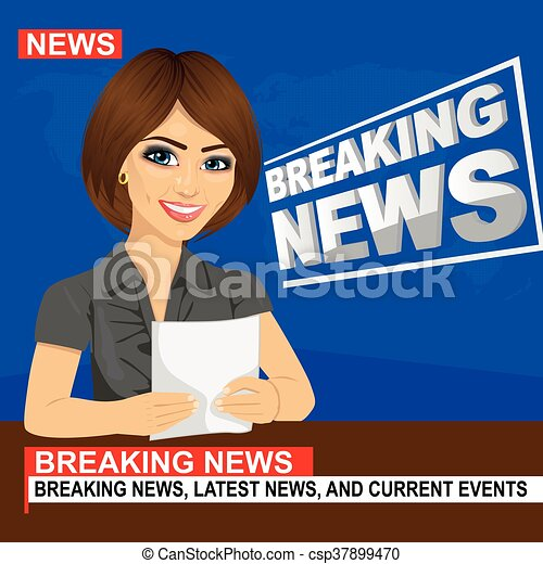 Young news anchor woman reporting breaking news sitting in studio - csp37899470