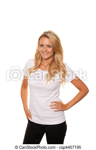 Young nice woman. Cheerful, smiling. Portrait - csp4407195
